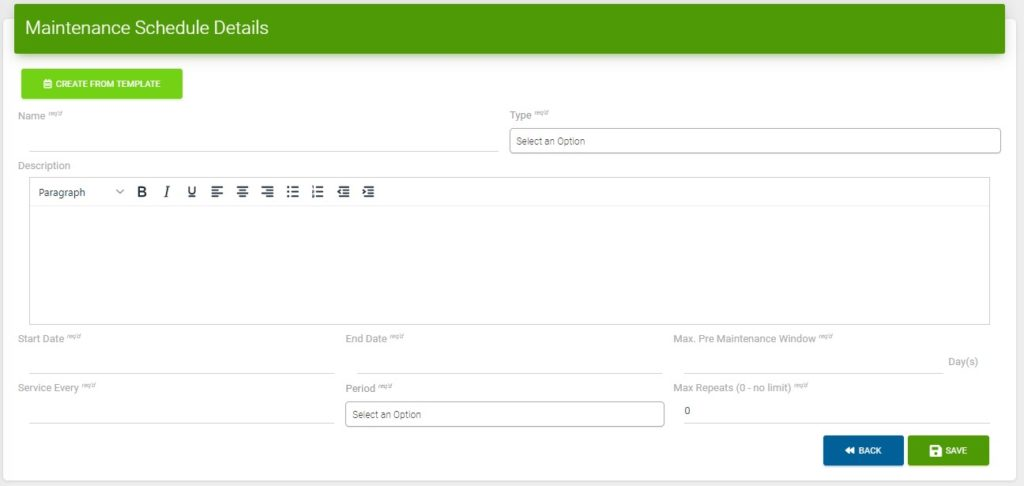Screenshot of the New Maintenance Schedule page in Custodian CMMS